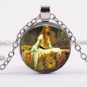 Lady of the Lake Art Photo Silver & Glass Necklace